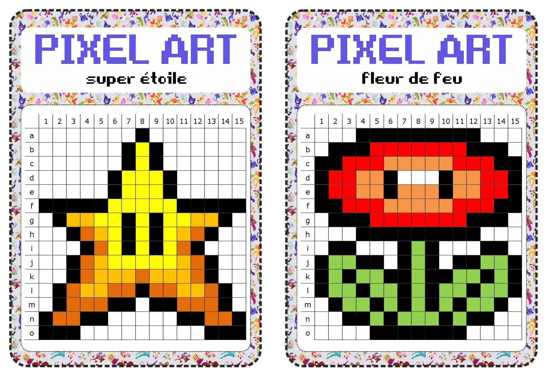 Atelier Libre : Pixel Art - Fiches De Préparations (Cycle1 à Reproduire Un Dessin Sur Quadrillage