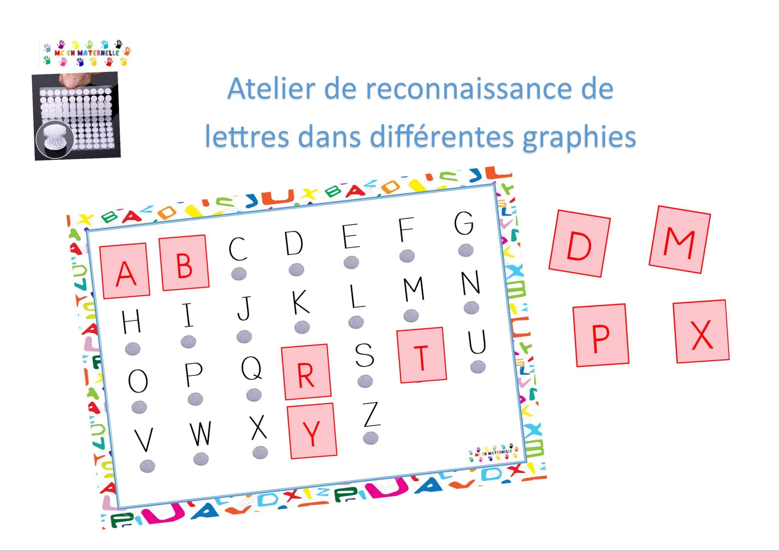 Ateliers De Reconnaissance Des Lettres Dans Différentes tout Jeux Alphabet Maternelle Gratuit