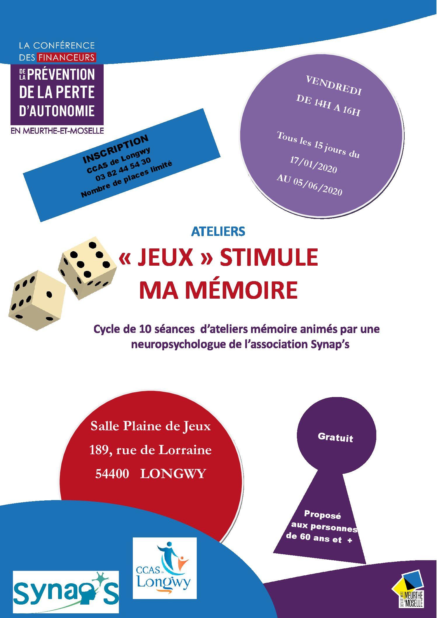 Ateliers « Jeux » Stimule Ma Mémoire - Association Synap's destiné Jeux Gratuit De Memoire