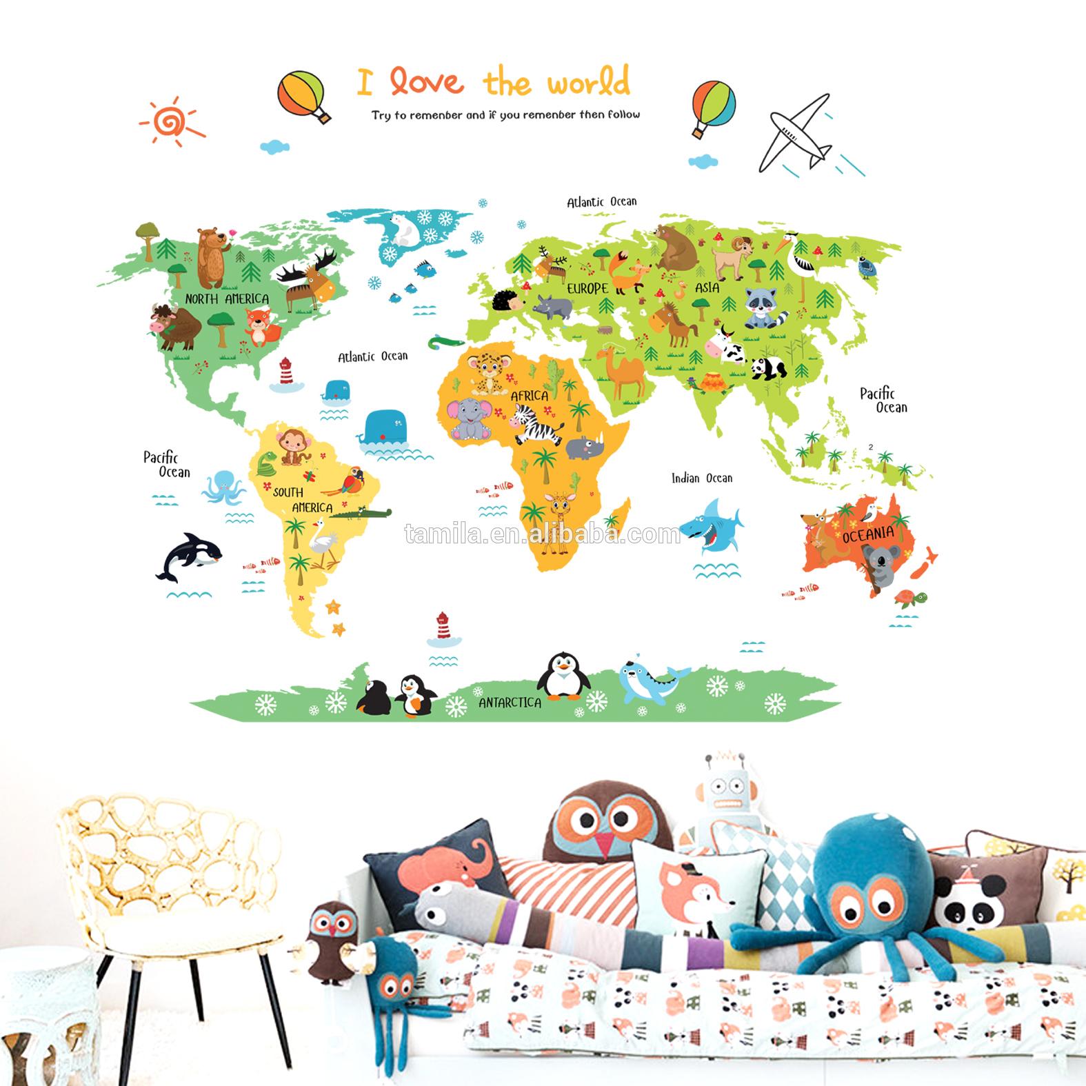Autocollant Mural Animaux Dessin Animé Autocollant Carte Du Monde Décoratif  Pour Chambre D'enfant - Buy Autocollants 3D De Décoration De Chambre pour Carte Du Monde Enfant