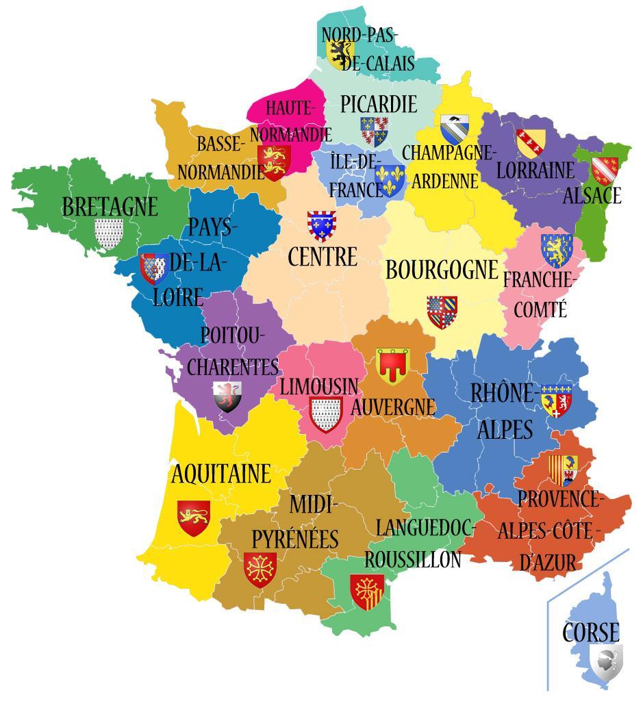 Avant/apres. Découvrez Les 13 Noms Des Nouvelles Régions De dedans Carte De France Et Ses Régions