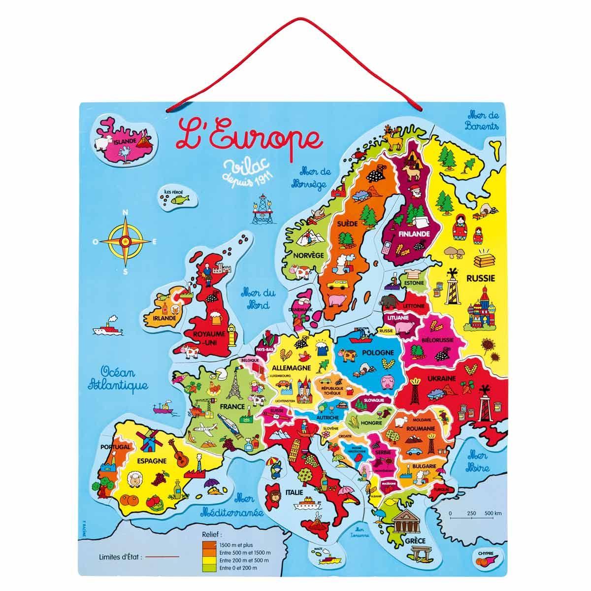 Avec Ce Beau Puzzle En Bois Double-Face, L'enfant Va Pouvoir avec Carte D Europe Avec Pays