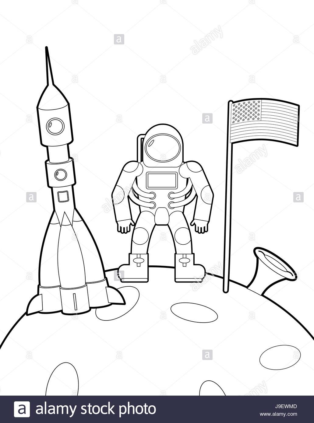 Avec Un Drapeau De L'astronaute Sur La Lune. Fusée De L encequiconcerne Coloriage Astronaute