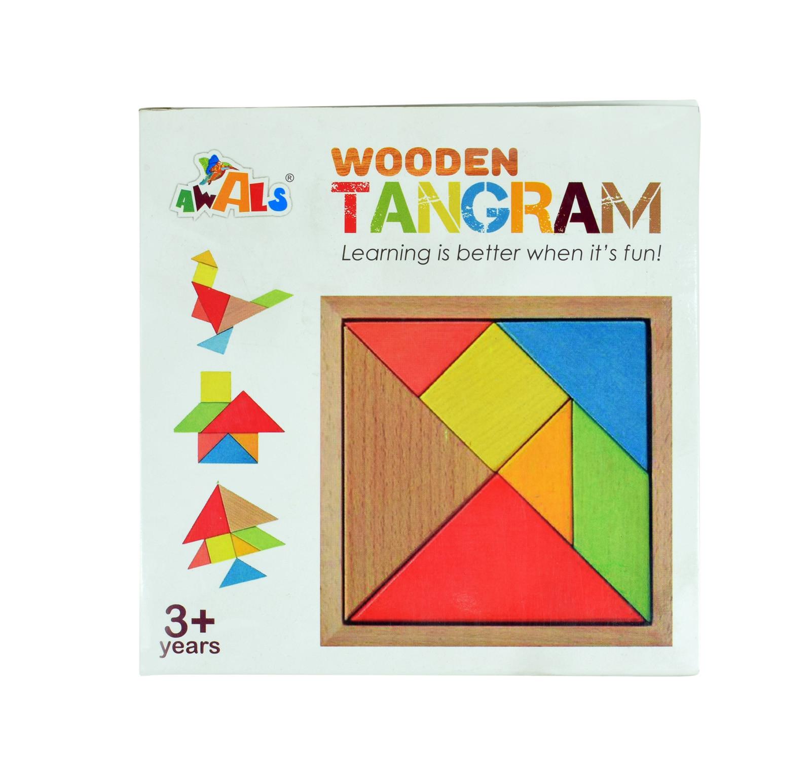 Awals Wooden Tangram Puzzle 7 Pieces - Multicolour à Pièces Tangram