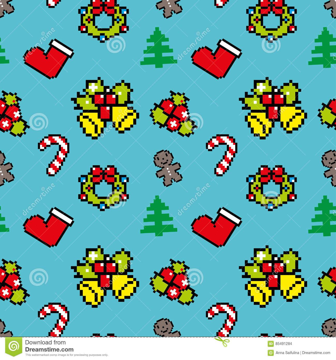 Background With Christmas Symbols Pixel Art Blue Color Stock dedans Pixel Art De Noël