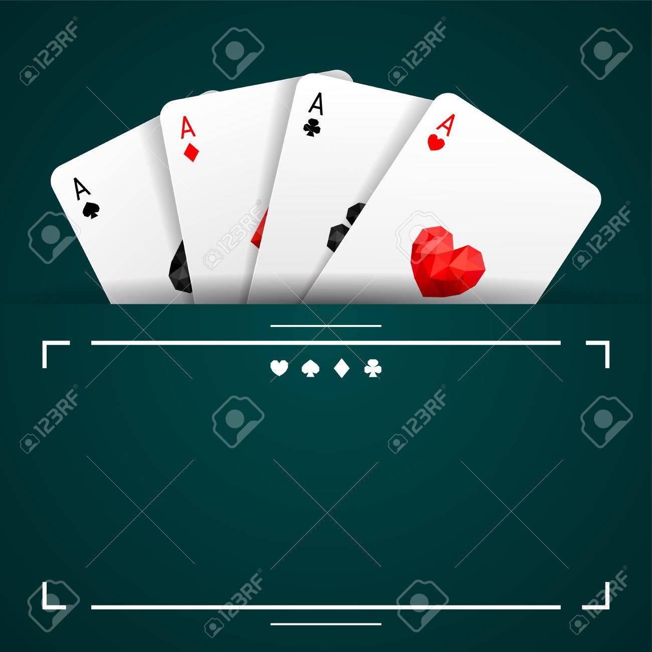Background With Four Aces Playing Cards Suits On Turquoise Background And  Copy Space. Winning Poker Hand à Jeu Quatre Images