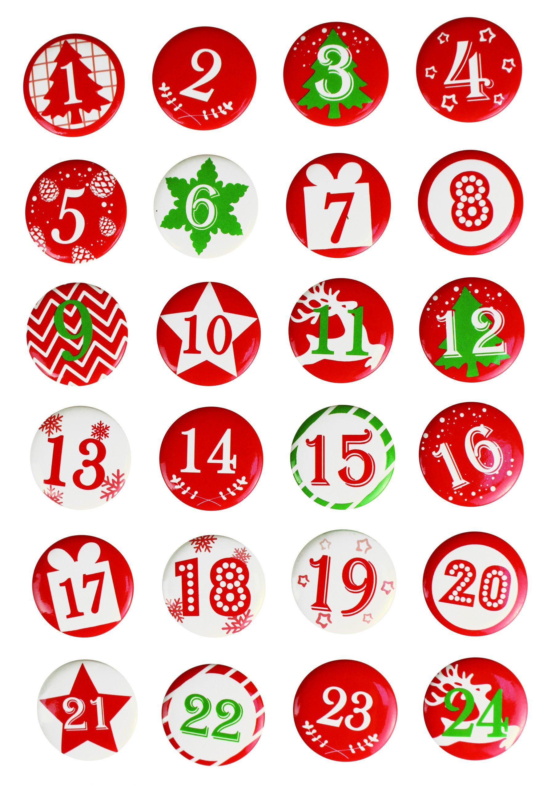 Badges Pour Calendrier De L'avent Rouge Et Blanc concernant Etiquette Chiffre A Imprimer
