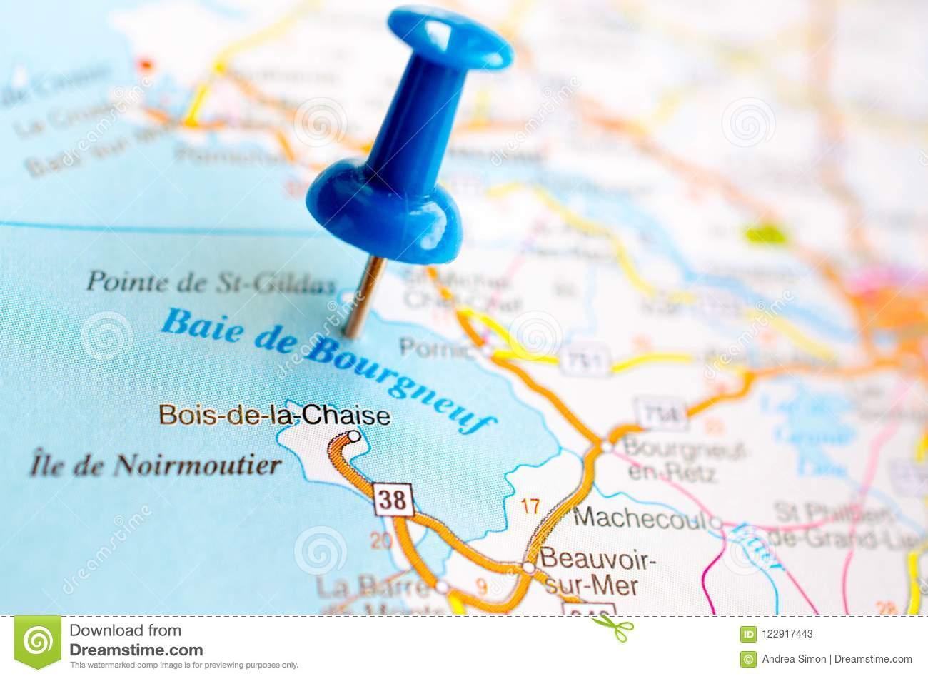 Baie De Bourgneuf On Map Stock Image. Image Of concernant Carte De France Nouvelle Region
