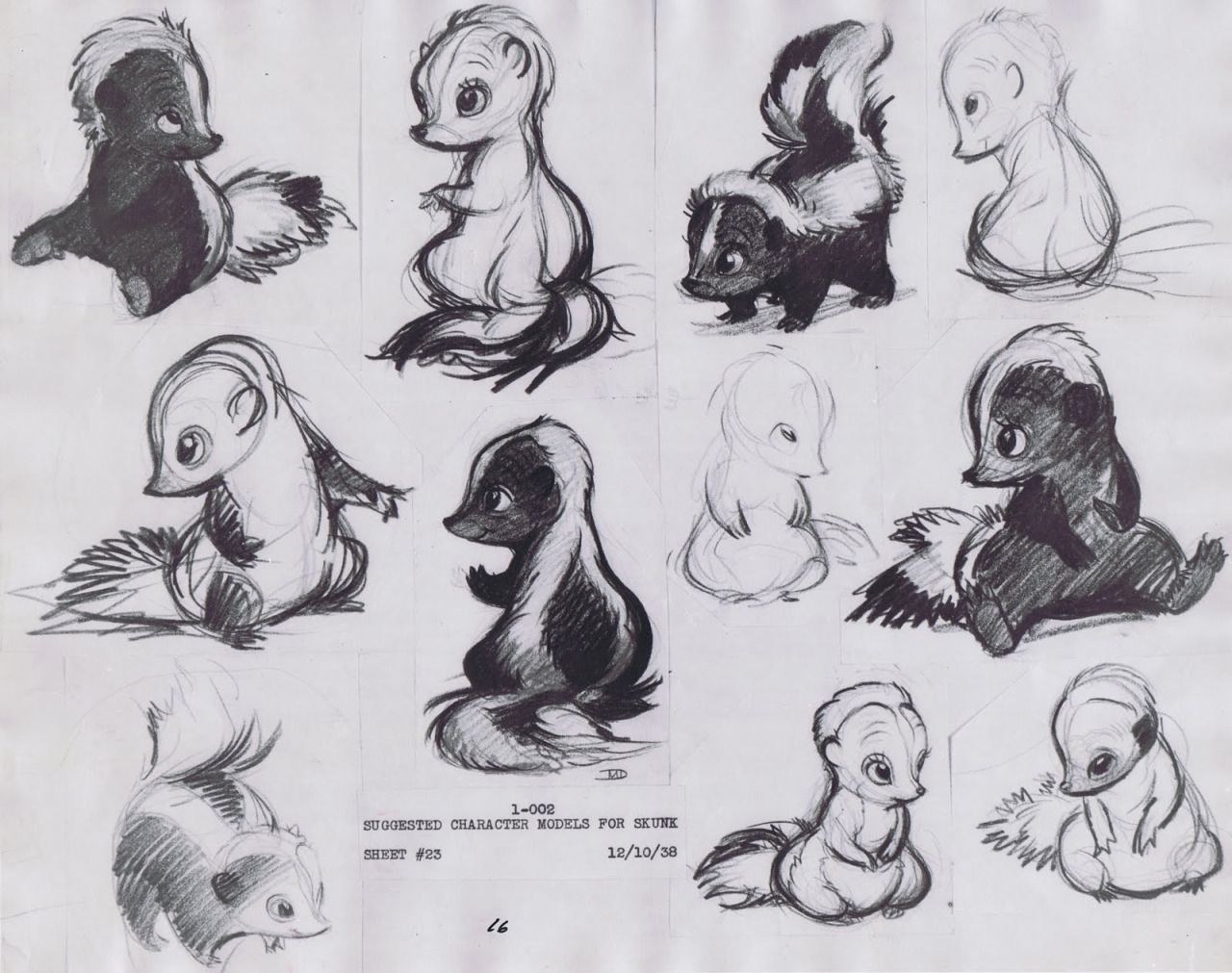 "Bambi, ""skunk"" Flower Character Model Sketches, Sheet 23 à Dessin Moufette"