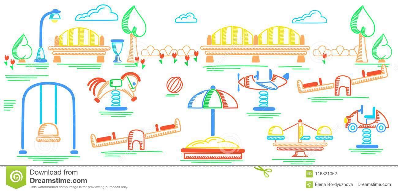 Bannière De Terrain De Jeu Style De Dessin De La Hachure Des encequiconcerne Jeux Enfant Dessin