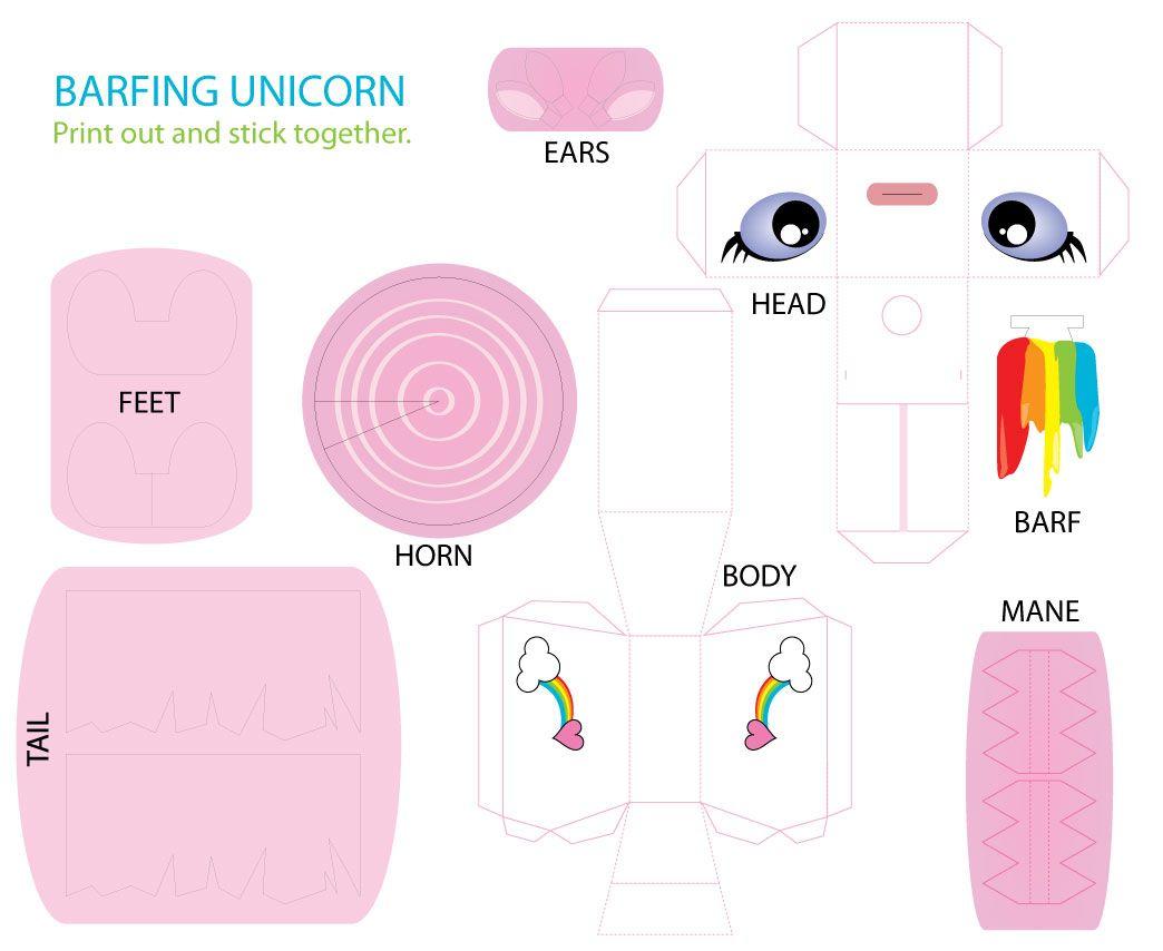 Barfing Unicorn Lol | Unicorn Printables, Paper Toys dedans Paper Toy A Imprimer