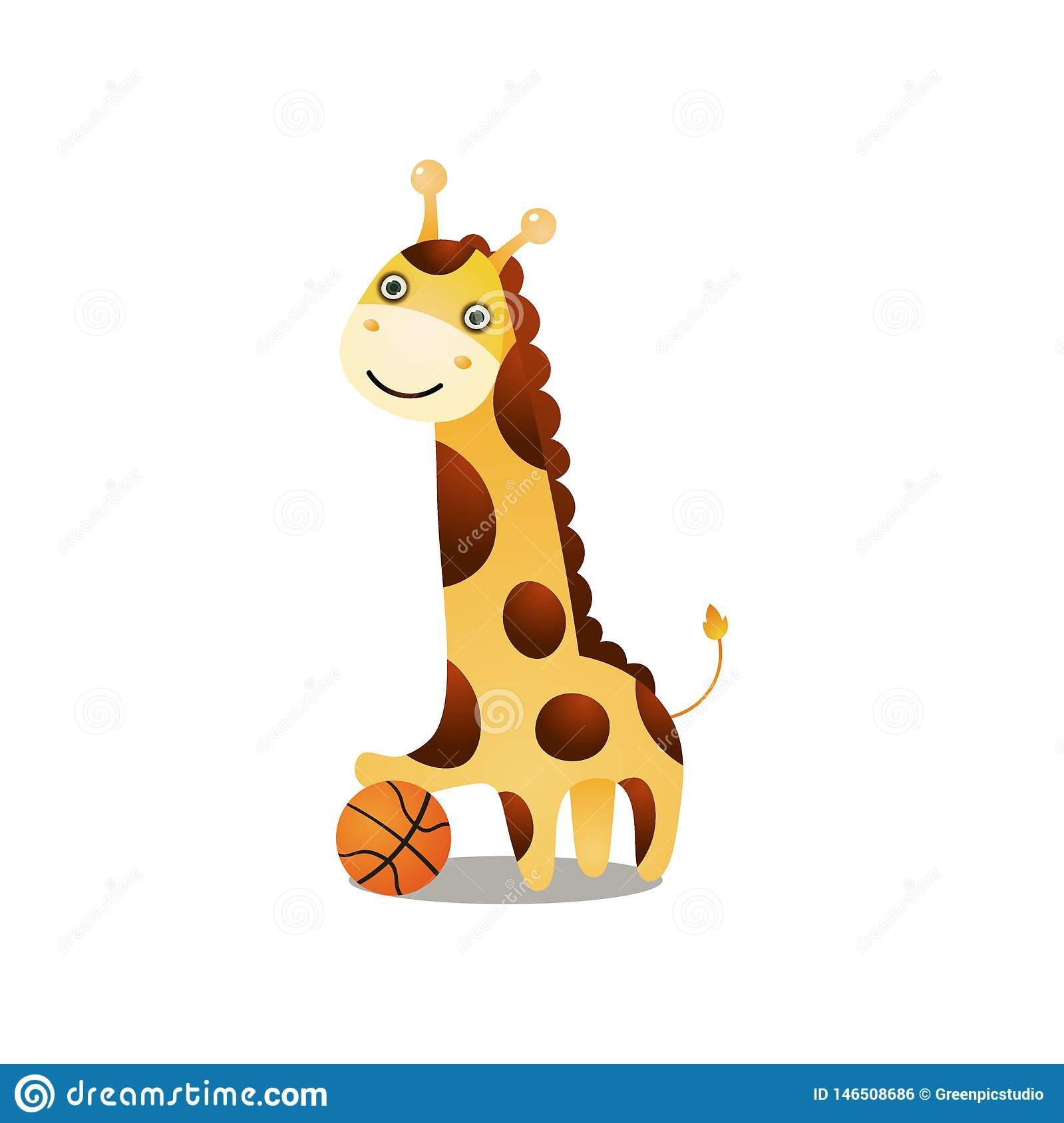 Basket-Ball De Sourire Mignon De Jeu De Girafe Avec La Boule serapportantà Jeux De Girafe Gratuit