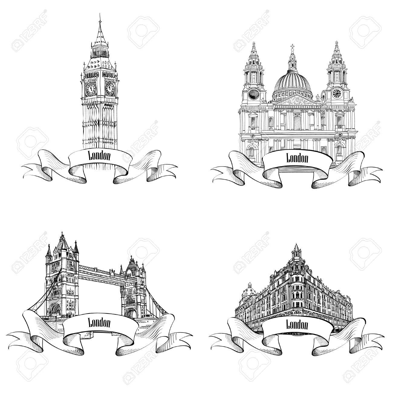 Bâtiments Célèbres De Londres Fixés. Dessin À La Main Collection De Croquis  De Monuments De Londres. Angleterre Voyage Icône De La Collection. dedans Dessin De Angleterre