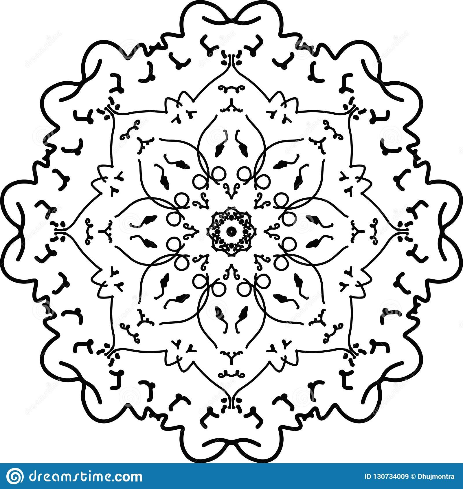 Beau Dessin De Mandala De Fleur En Noir Et Blanc à Dessiner Un Mandala