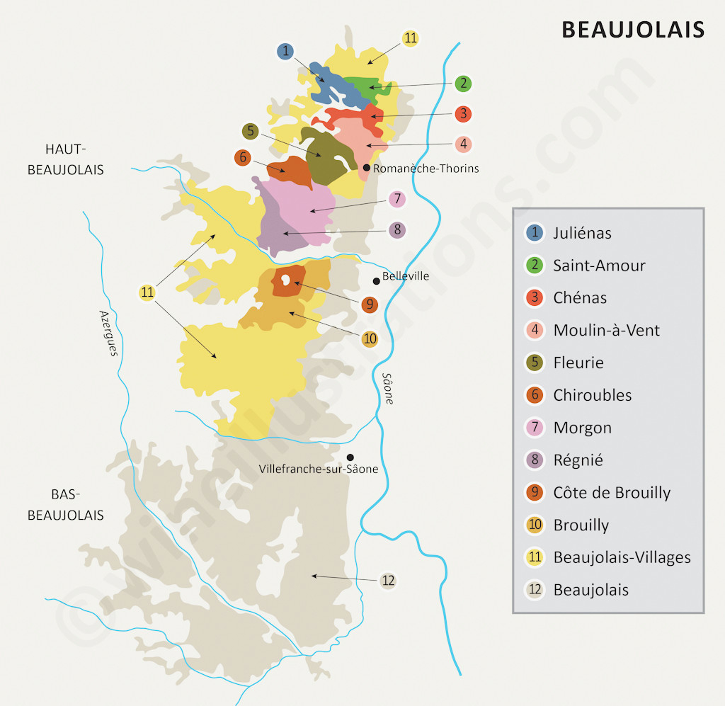 Beaujolais And The 10 Crus By Wineillustrations - A Photo On encequiconcerne Mappe De France