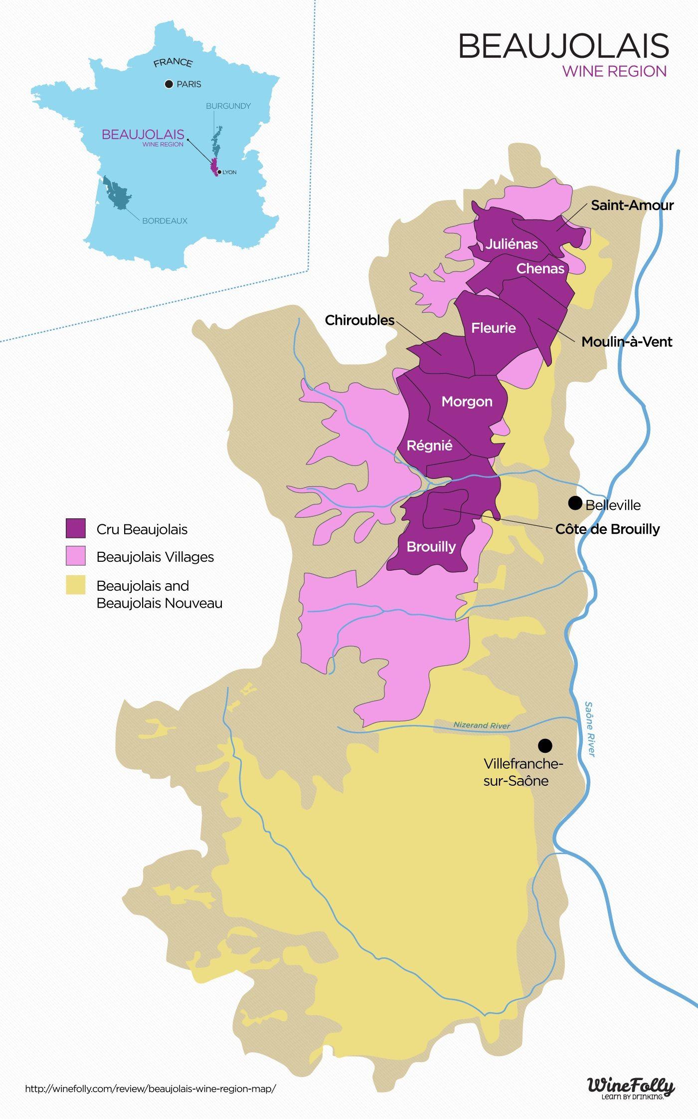 Beaujolais Nouveau 2016   Carte Des Vins, Vin Et Les Régions destiné Carte Des Régions De France 2016