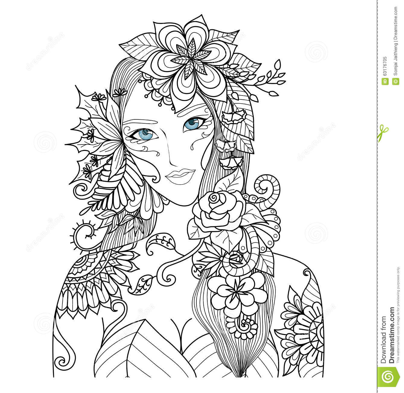 Beautiful Forest Fairy For Coloring Book For Adult Stock à Mandala Fée