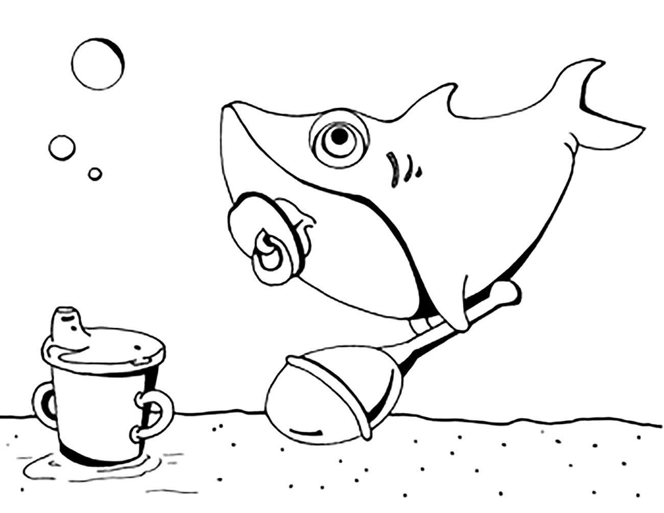 Bébé Requin - Coloriages À Imprimer Gratuits : Personnages tout Dessin De Requin À Imprimer