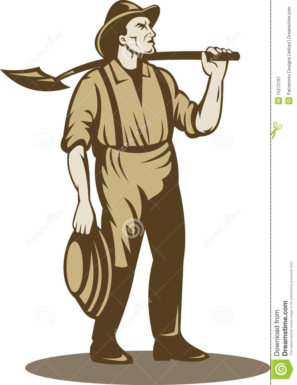 Bêcheur De Mineur, De Prospecteur Ou D'or Illustration Stock à Mineur D Or