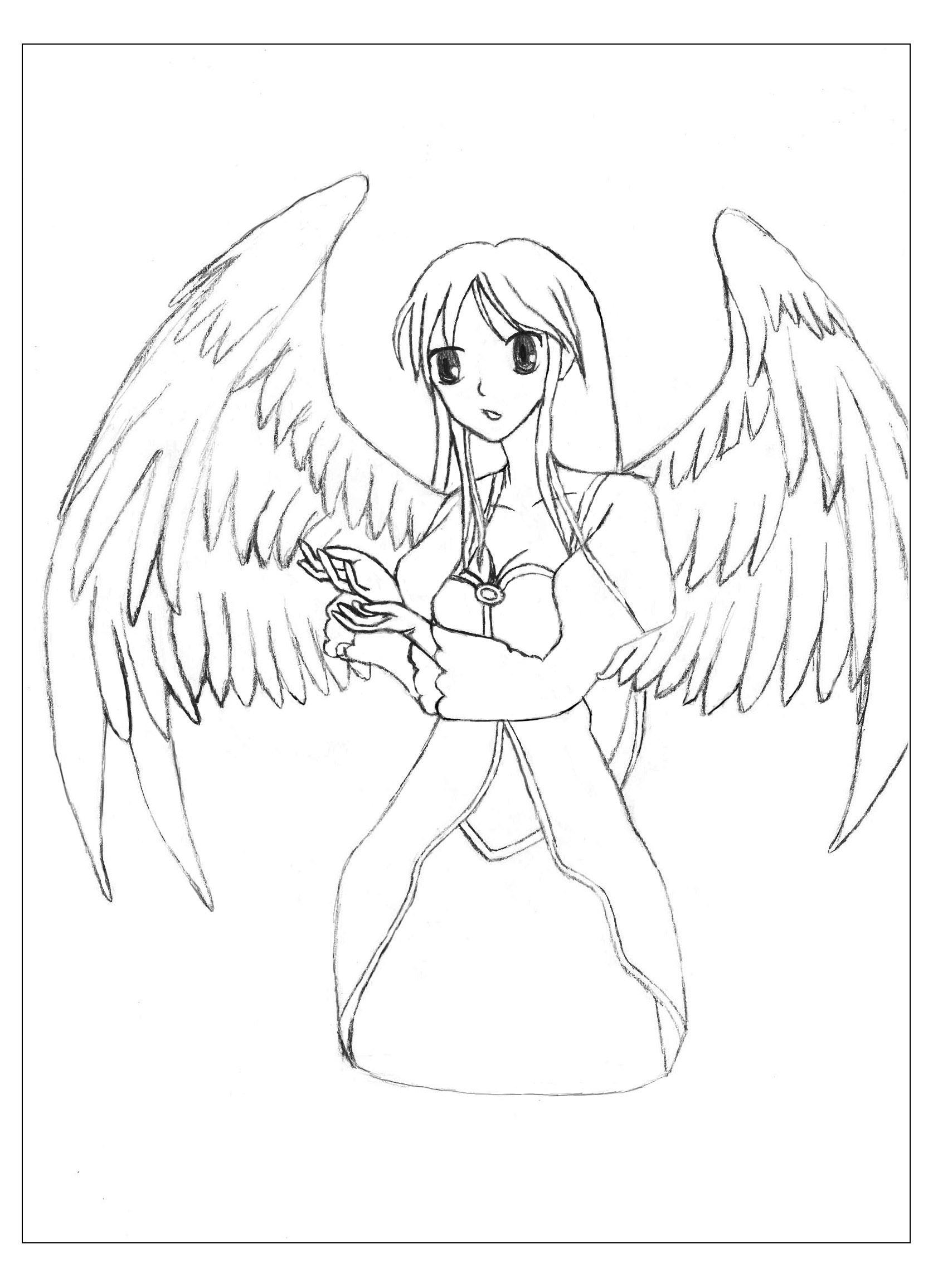 Bel Ange - Divers Animes Et Mangas - Coloriages Pour Enfants destiné Ange A Colorier