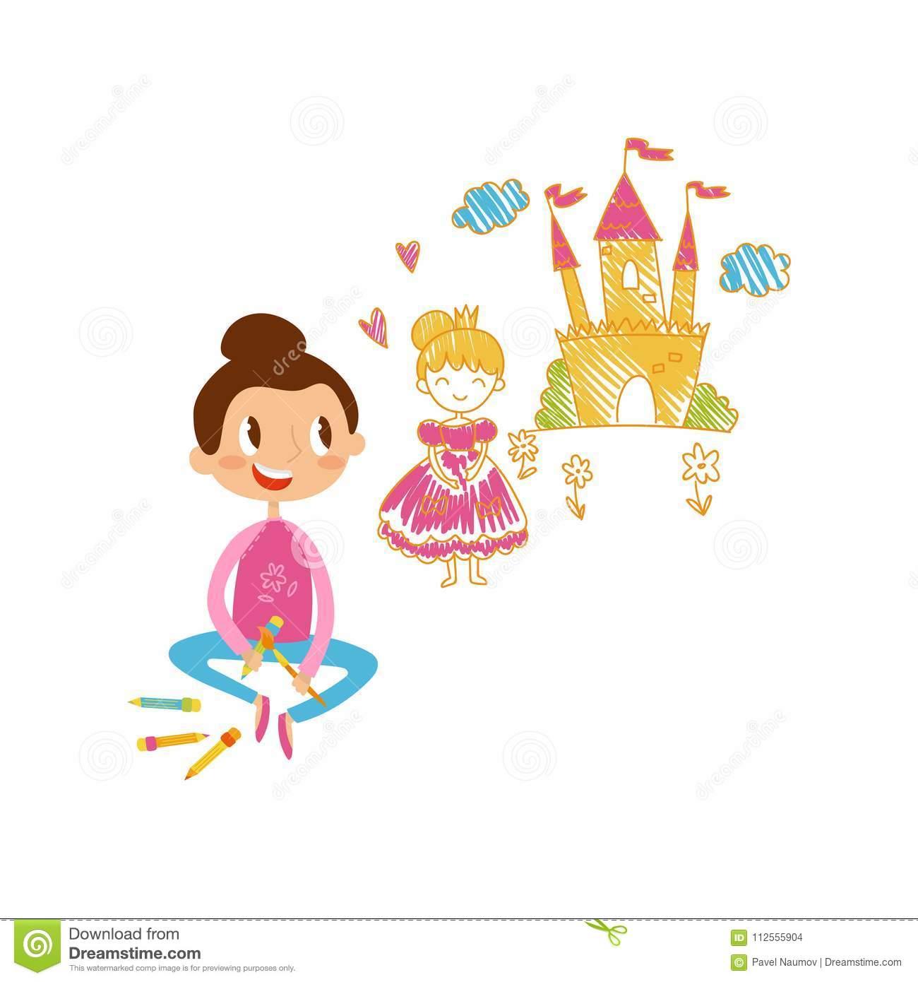 Belle Petite Fille S'asseyant Sur Le Plancher Et Le Château à Chateau Princesse Dessin