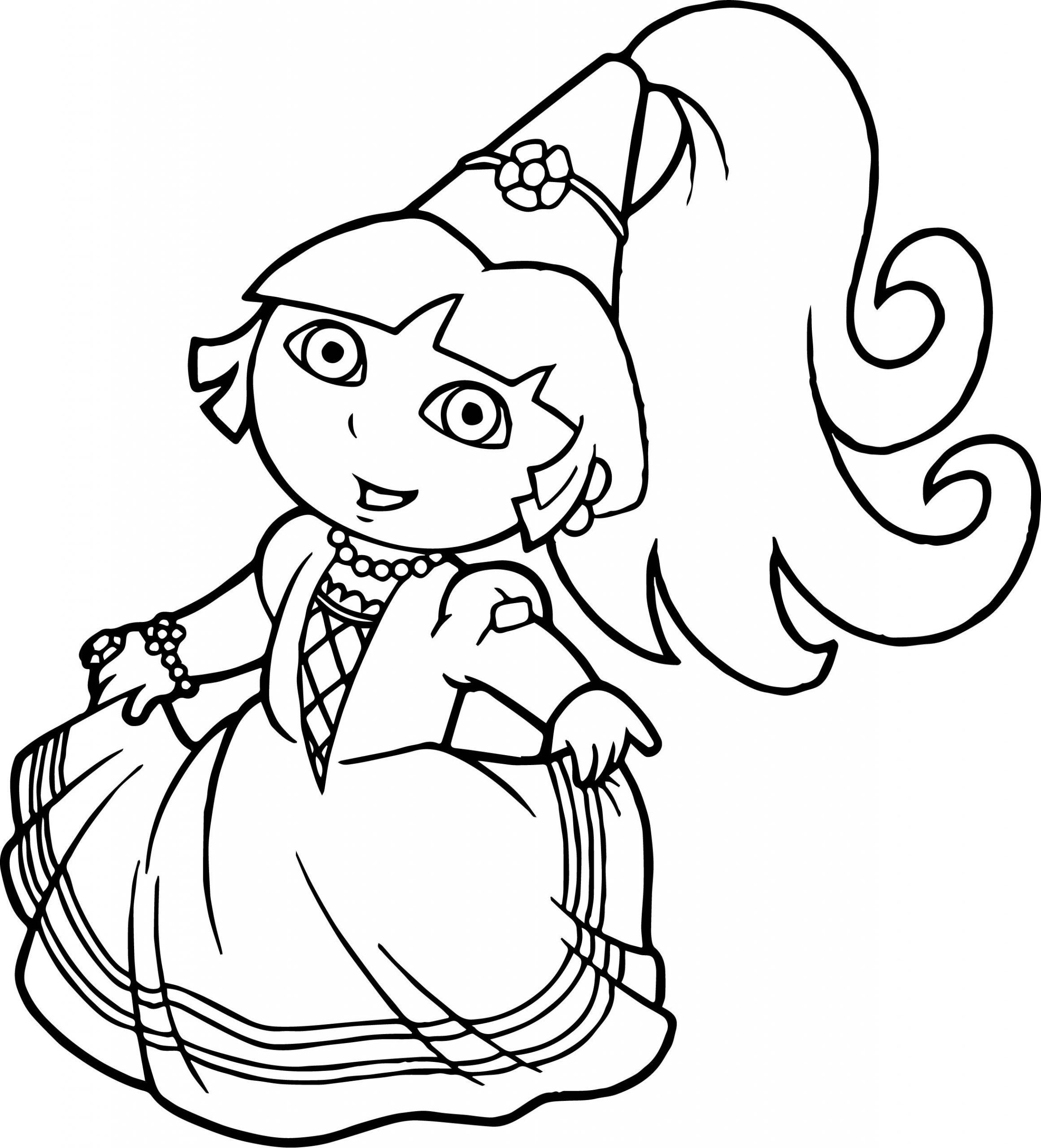 Best Beautiful Princess Dora The Explorer Coloring Pages intérieur Coloriage Dora Princesse