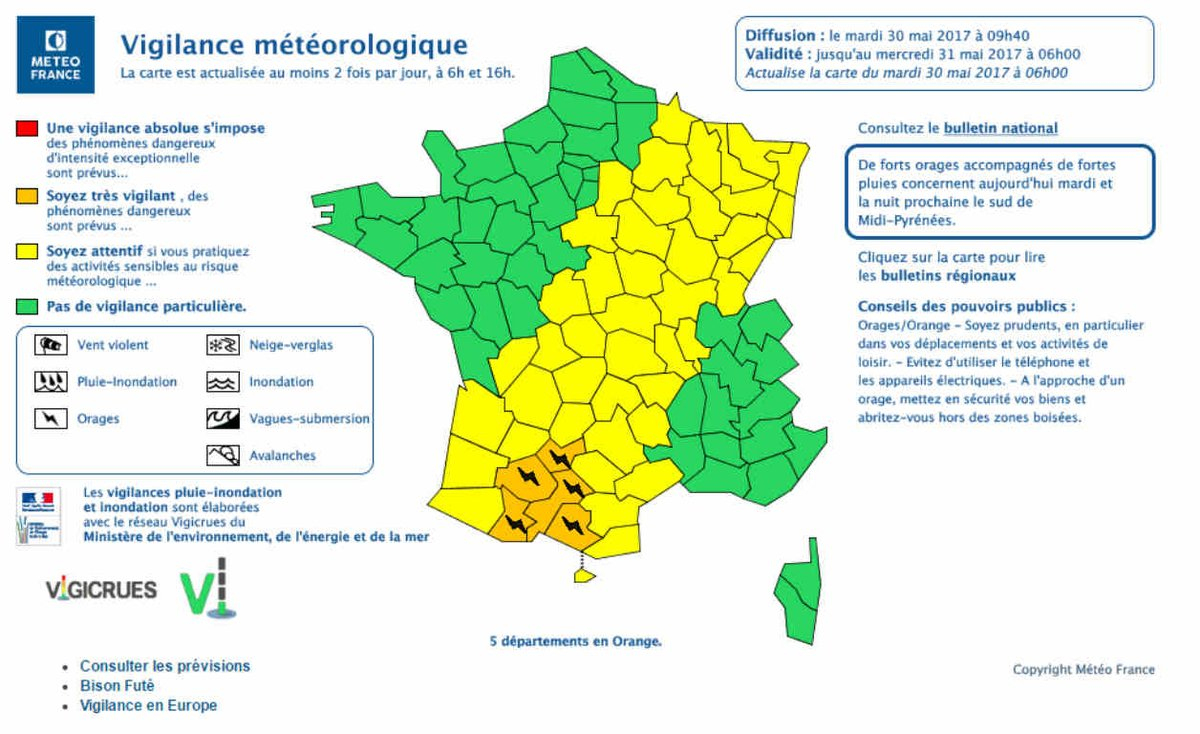 "Bfmtv On Twitter: ""météo France Place Cinq Départements En serapportantà Carte D Europe 2017"