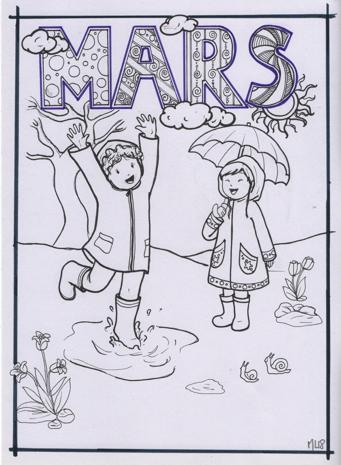 Bibouche En Classe : Coloriage Du Mois De Mars tout Mois À Colorier Maternelle