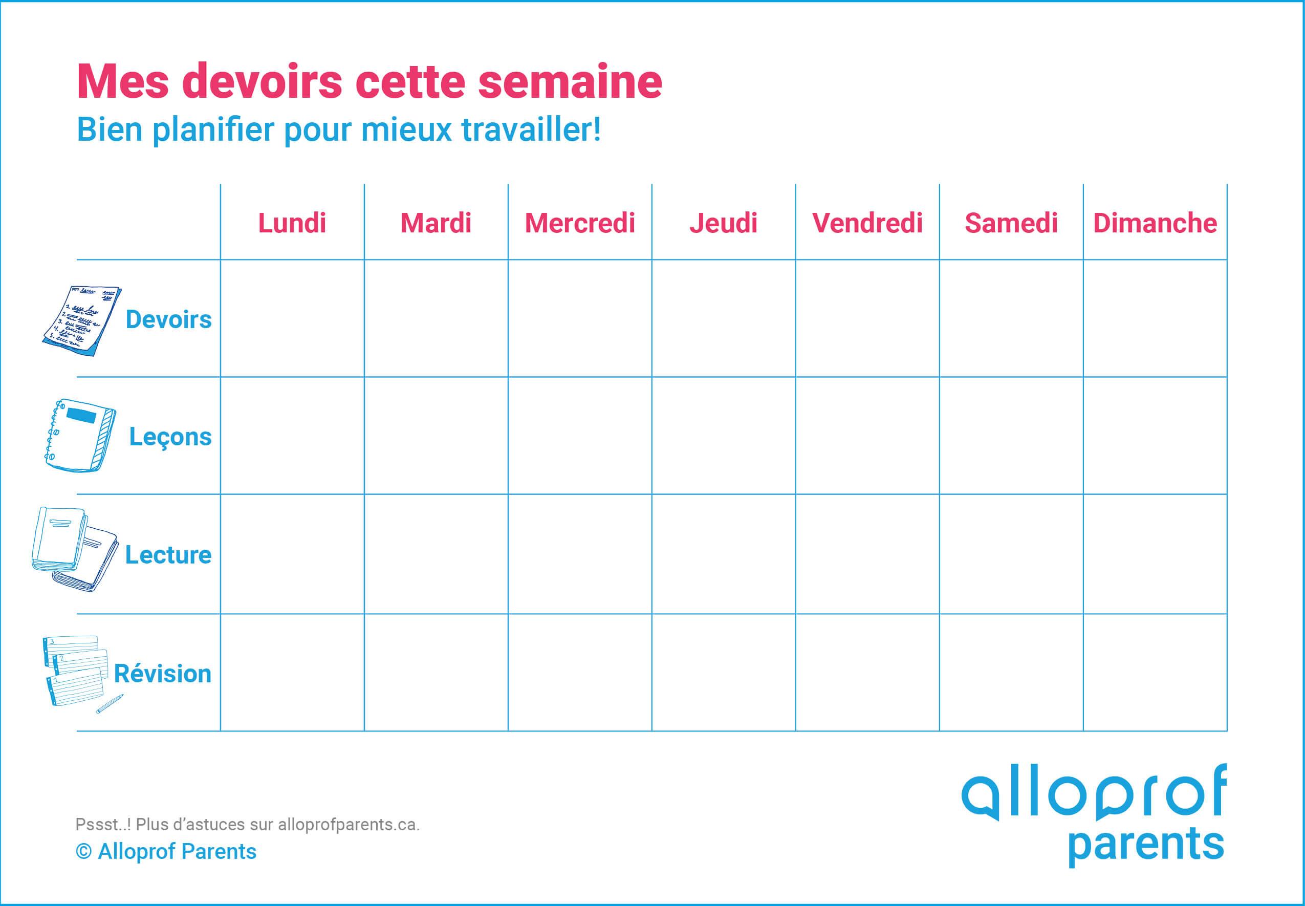 Bien S'organiser Pour La Rentrée - Alloprof Parents concernant Calendrier En Ligne Gratuit A Imprimer