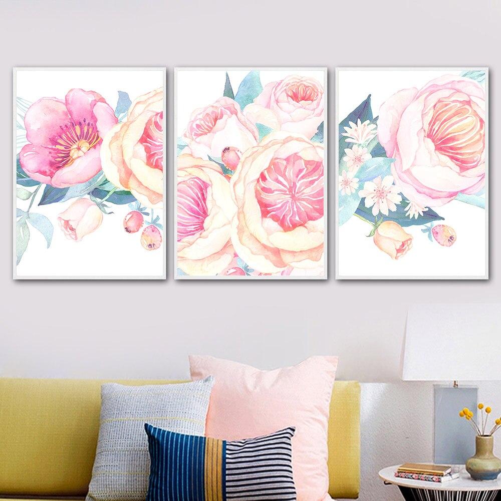 Big Sale #80Dc - Rose Flower Poster Watercolor Wall Art concernant Reproduction De Figures Sur Quadrillage