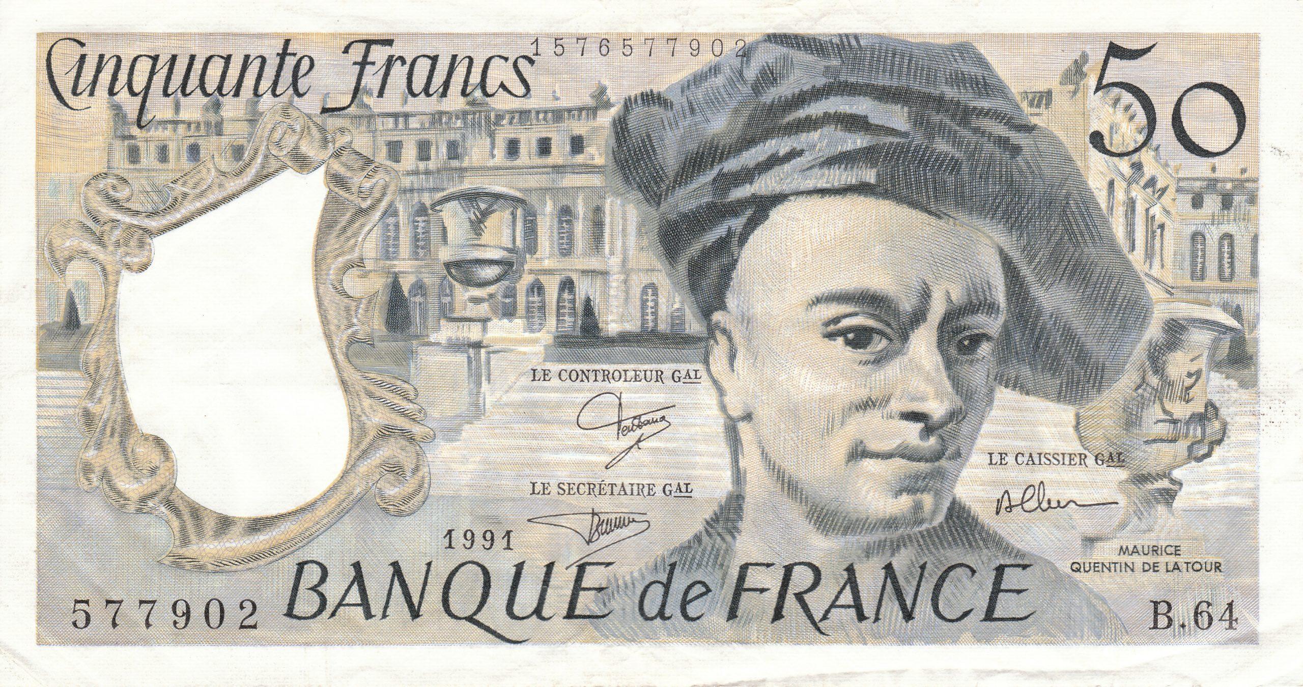 Billet De 50 Francs Quentin De La Tour — Wikipédia pour Billet De 50 Euros À Imprimer