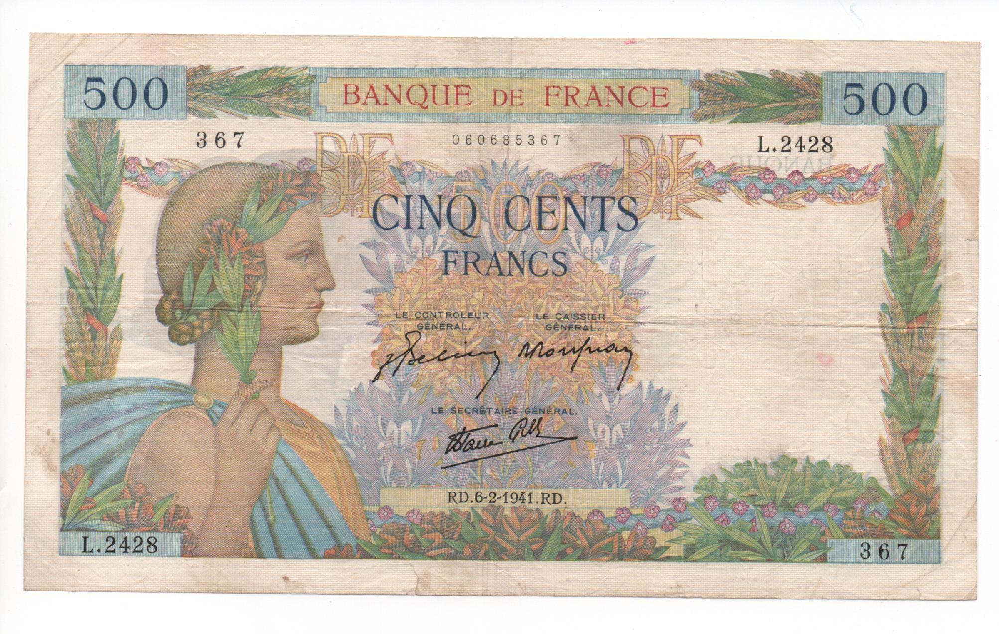 Billet De 500 Francs La Paix Type 1939 - 1942 tout Billet De 5 Euros À Imprimer