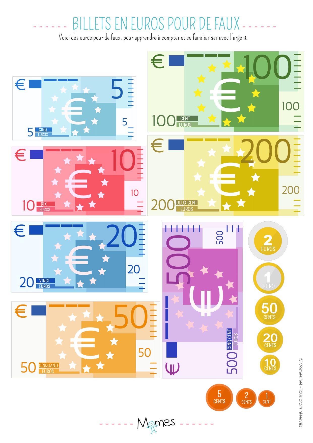 Billets À Imprimer | Jeux A Imprimer, Jeux De Marchande Et A concernant Pièces Et Billets En Euros À Imprimer
