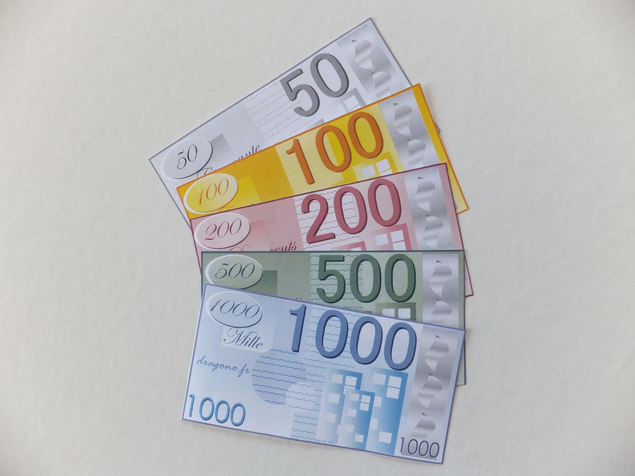 Billets De Fausse Monnaie À Imprimer-Jeux De Société à Argent Factice À Imprimer