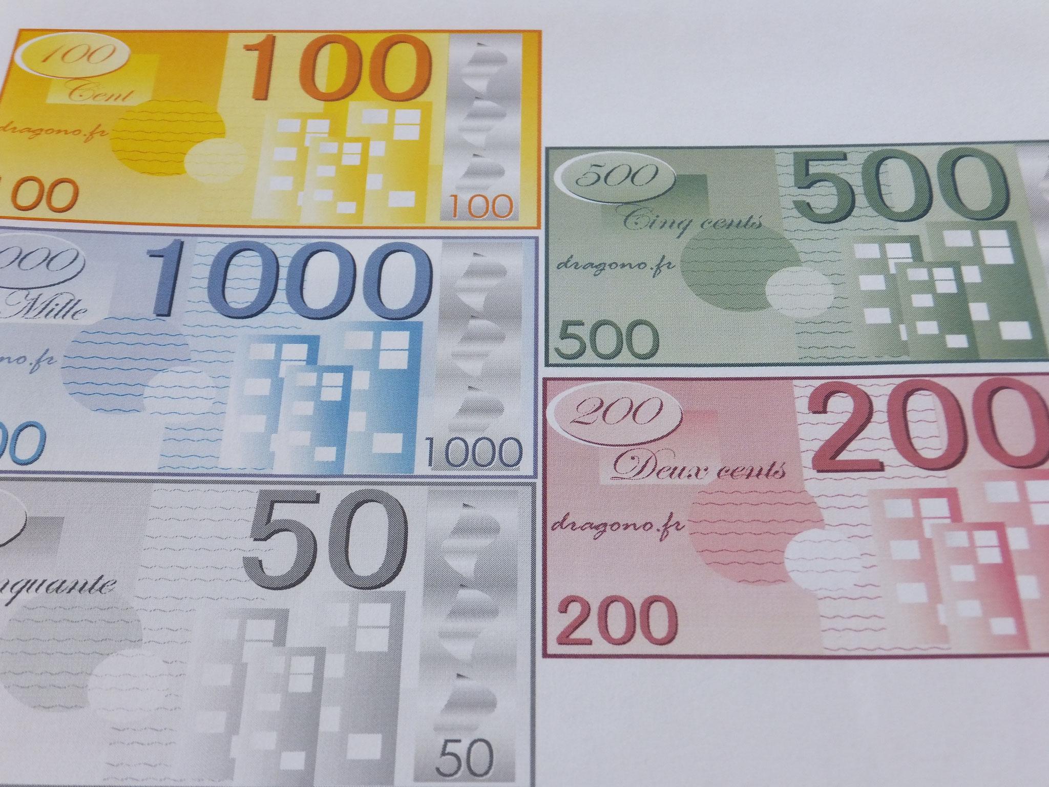Billets De Fausse Monnaie À Imprimer-Jeux De Société destiné Pieces Et Billets Euros À Imprimer