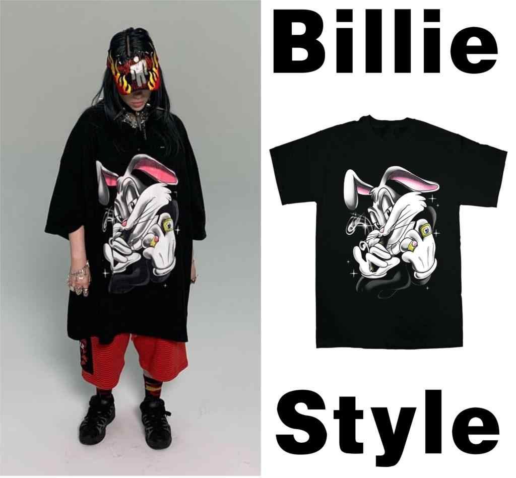Billie Eilish Noir T Shirt Vintage Oversize Hiphop Off Coton intérieur Dessin De Vague A Imprimer