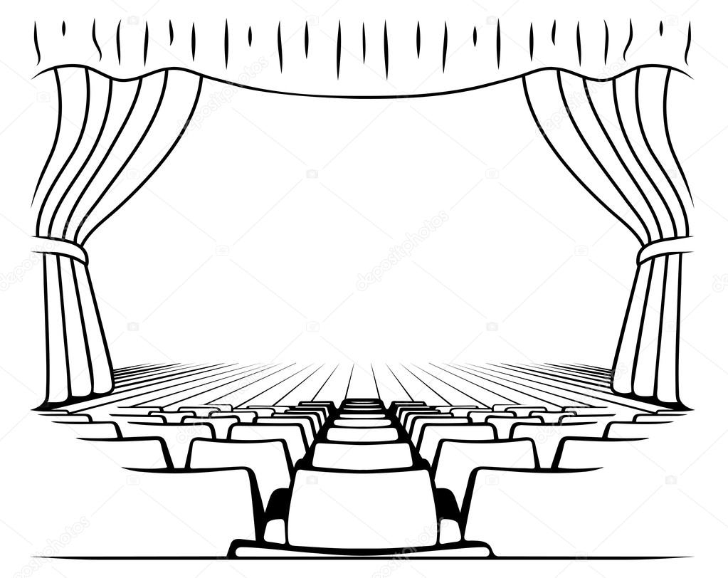 Black And White Drawing Theatrical Scene — Stock Vector encequiconcerne Dessin Theatre
