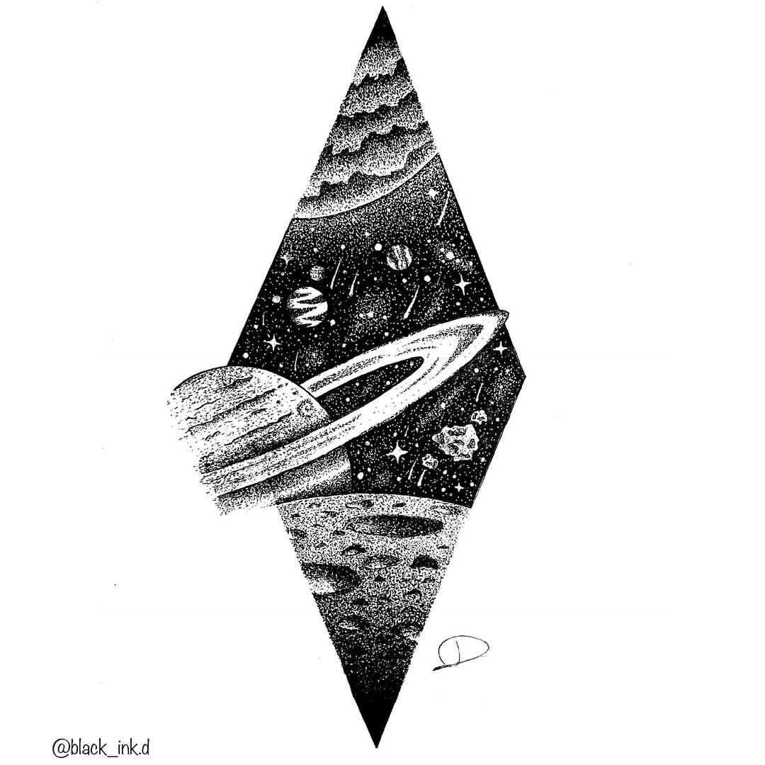 """Black_Ink.d No Instagram: """"Rings Of Saturn avec Saturne Dessin"""