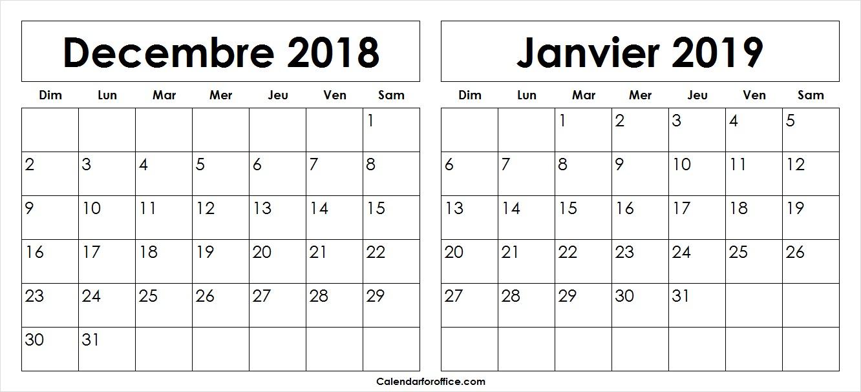 Blanc Decembre 2018 Janvier 2019 Calendrier Modèle De concernant Calendrier Mensuel 2018 À Imprimer