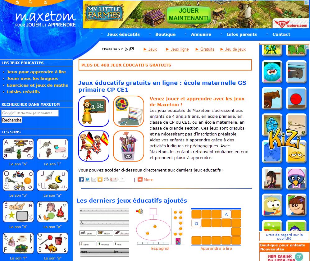 Blog Education À Thonon: Maxetom Apprendre En Jouant pour Jeux Éducatifs En Ligne Cp