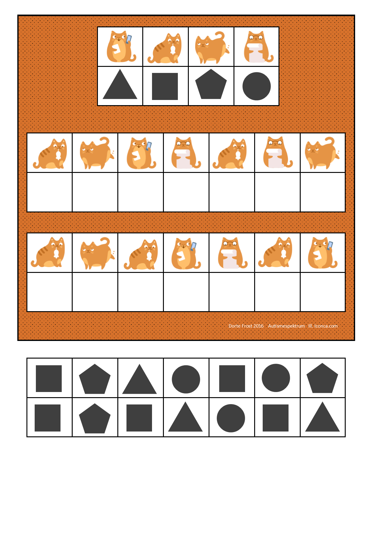 Board And Tiles For The Cat Visual Perception Game. By encequiconcerne Jeux Didactiques Maternelle