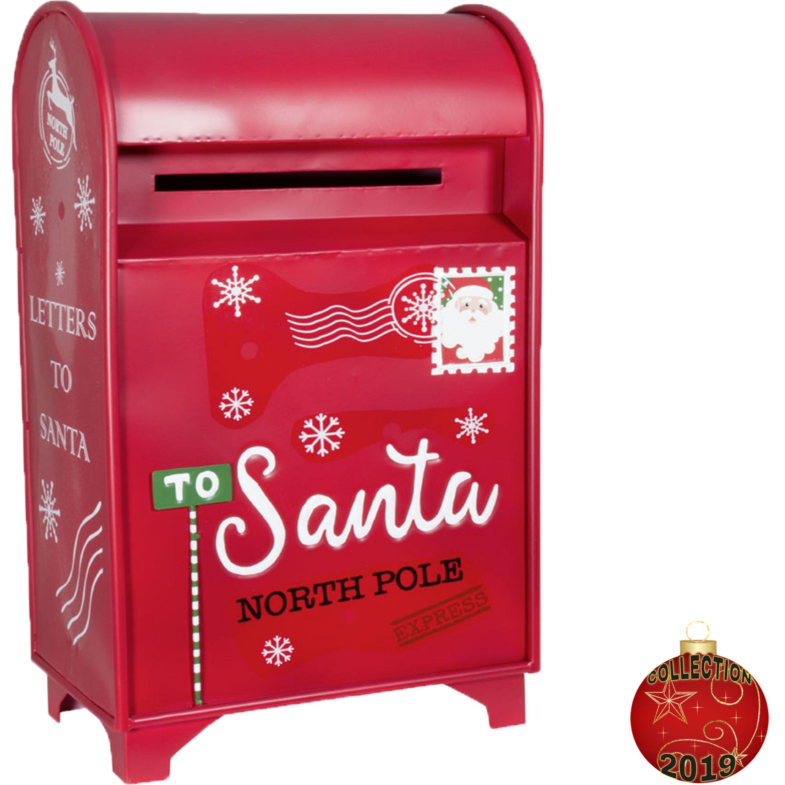 Boite À Lettre Du Père Noël Rouge 61Cm Métal Pour Décoration Avent à Boite De Noel A Imprimer