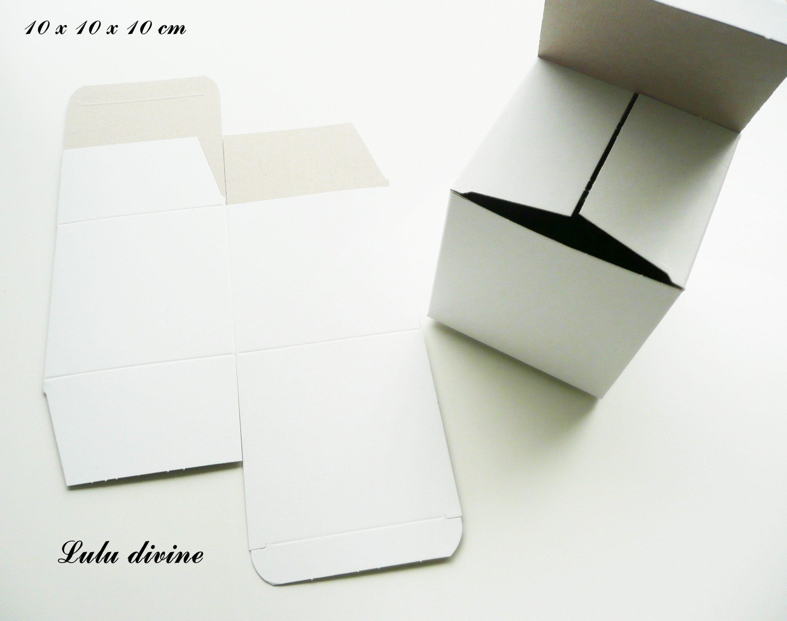 Boite En Carton 10X10X10 En Carton Blanc Couché Intérieur Gris Clair à Patron Pour Boite En Carton