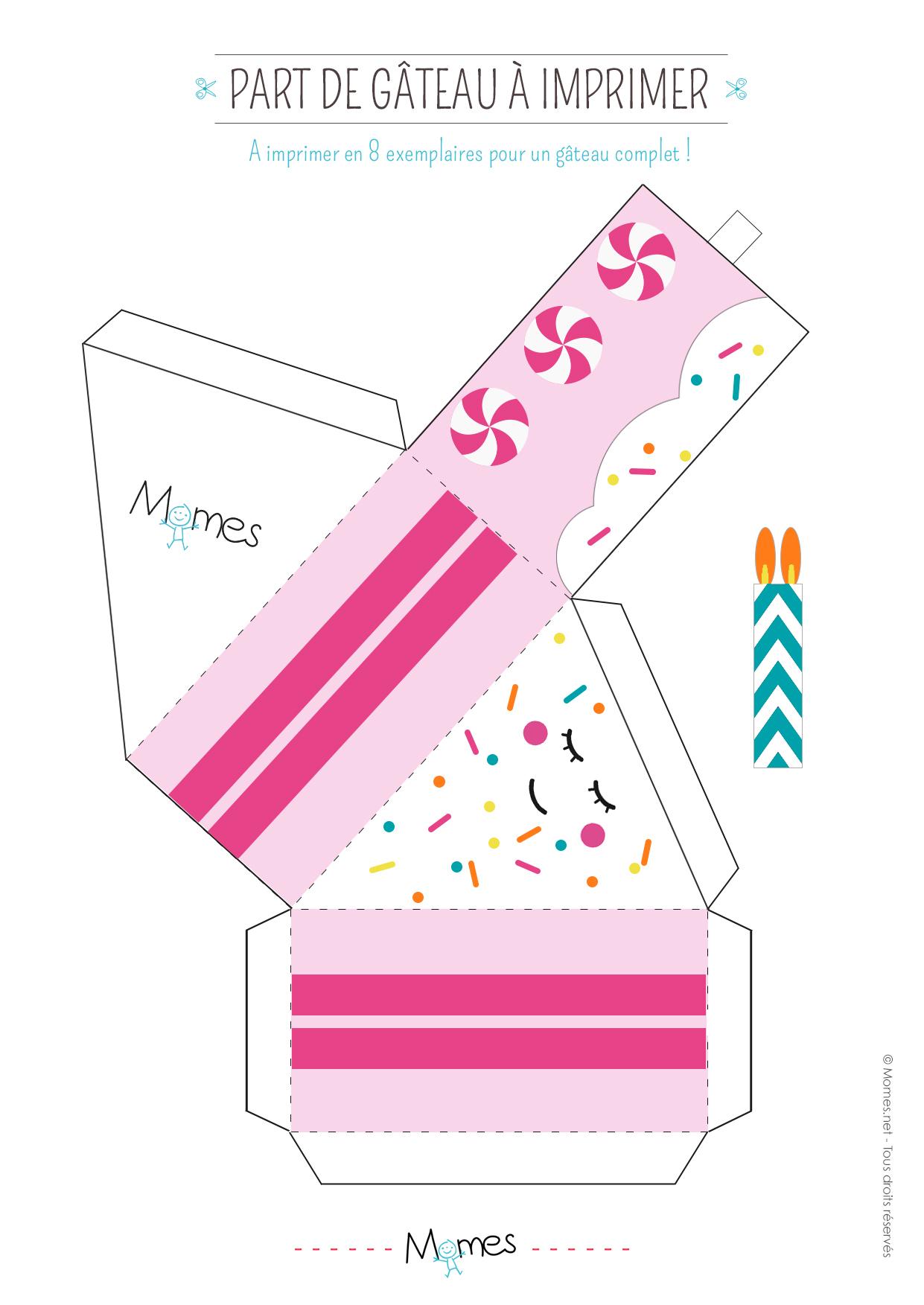 Boîte Part De Gâteau À Imprimer - Momes dedans Boite De Noel A Imprimer