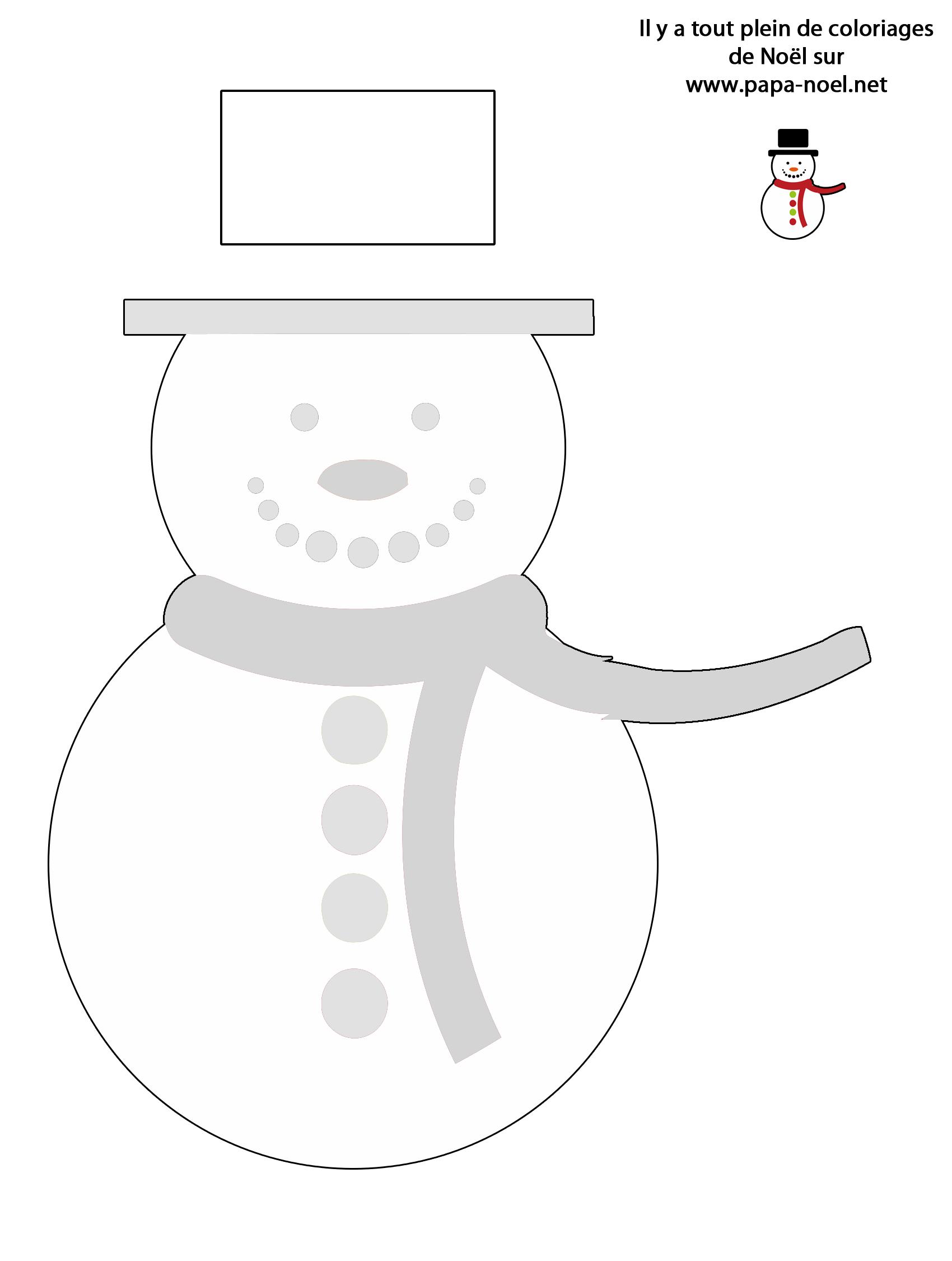 Bonhomme De Neige À Colorier - Coloriage De Noël encequiconcerne Modèle Bonhomme De Neige À Découper
