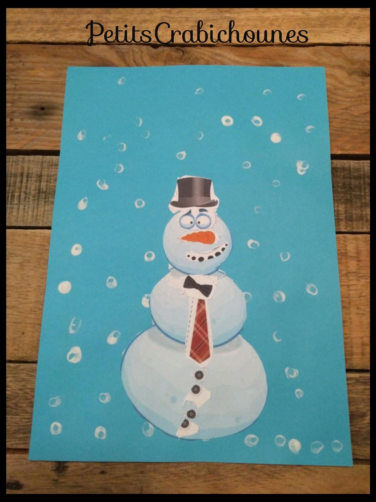 Bonhomme De Neige À Découper Et Peinture Coton-Tige destiné Bonhomme De Neige À Découper
