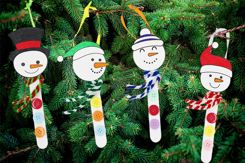 Bonhomme De Neige Avec Des Bâtons De Glace - Noël - 10 Doigts dedans Modèle Bonhomme De Neige À Découper