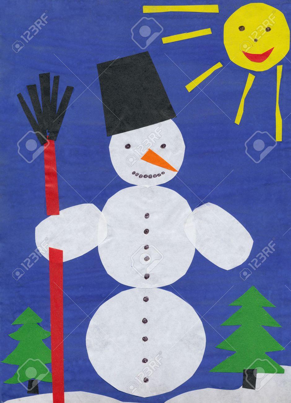 Bonhomme De Neige. Papier Découpé Enfants. concernant Bonhomme De Neige À Découper