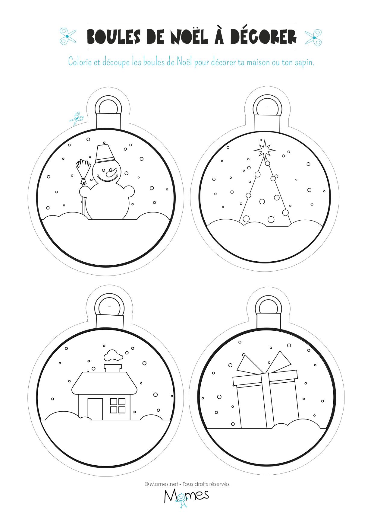 Boules Noël À Colorier Et Imprimer - Momes pour Découpage Maternelle À Imprimer