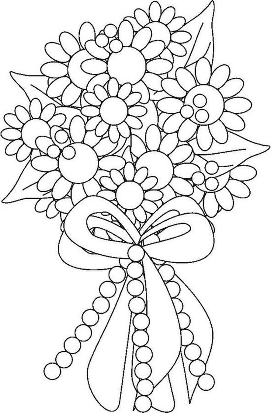 Bouquet De Fleurs : Coloriage Fleur À Imprimer Et Colorier à Dessin A Colorier De Fleur